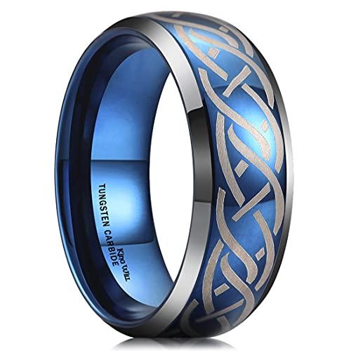 King Will 8mm Blue Tungsten Carbide Ring Celtic Knot Blue Domed Laser Celtic Knot Wedding Band for Men Women 11.5