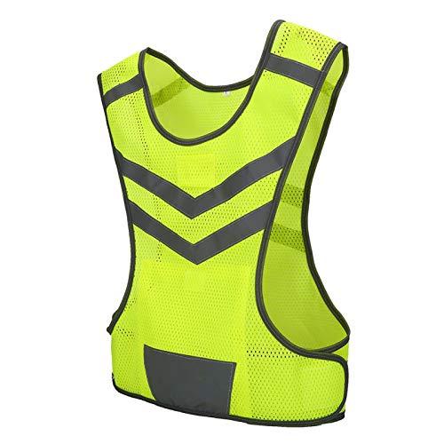 Chaleco reflectante para correr, ajustable, seguridad nocturna, chaleco deportivo de tela de malla, con alta visibilidad, chaleco de seguridad, para correr, andar en bicicleta, deportes al aire libre