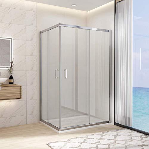 WELMAX Duschkabine 70x100 cm Eckeinstieg Schiebetür Duschabtrennung Eckdusche Echtglas 6mm Nano Beschichtung Sicherheitsglas, Höhe 195cm Dusche