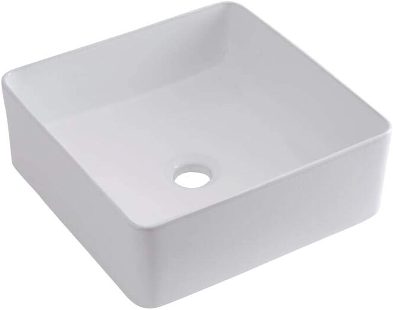 Milano Rivington - Square White Ceramic Basin with Razor Wall-Mounted Mixer Sink Tap