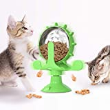 MAYYYYb.7 Cat Treat Dispenser Toy, Windmill Suction Cup Cat Treat Toys Lucky Cat Exercise Wheel Treadmill for Indoor, Cats Interactive Catnip Toys (Green)…