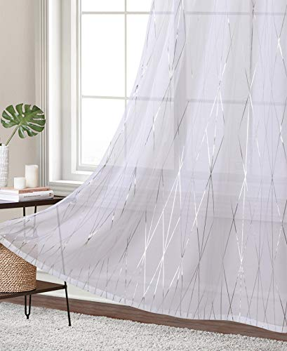 Finestile White Sheer Curtains for Living Room Silver Line Printed Panles Transparent and Thin Grommet Moder Geometric Design for Living Room 54 x 63 inches one Pair