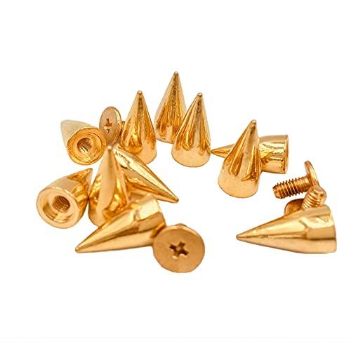 Durable 100 sets de 14 mm de oro con puntos de cono de metal, remaches de artesanía en cuero, remaches punk, puntas punk, para reparación de manualidades (color oro)