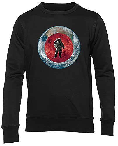 Espacio Astronauta Marte Y Tierra Jersey Unisex Hombres Mujeres Manga Larga Negro Suéter Jumper Men Women Black L