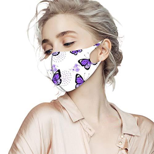 4 Stück Waschbarer Mund- und Nasenschutz für Erwachsene Bunt atmungsaktives, staubdichtes Bandana-Halstuch mit Schmetterlingsdruck, milde Farbe(D)