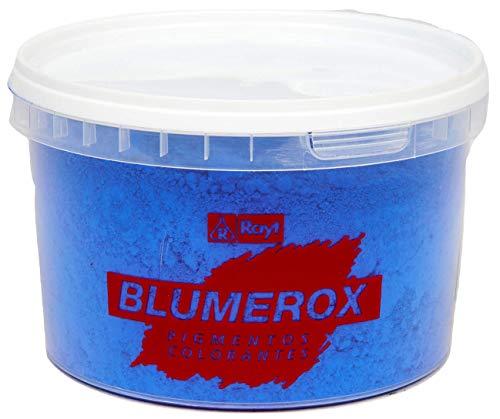 Rayt 1183-71 Blumerox Polvo para Interiores Cemento Blanco o Gris, Cal y Yeso. Altísimo Poder colorante. Pigmentos de Primera Calidad. Color Azul 05, 450gr