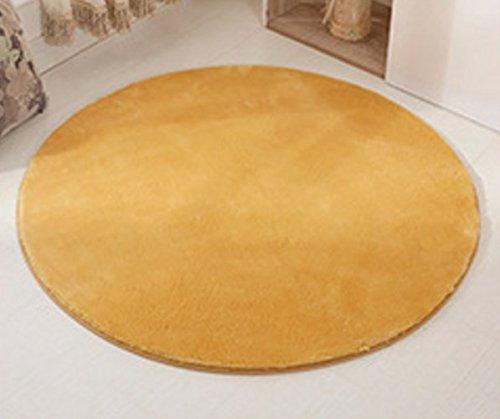 Alfombra redonda amarilla para salón, dormitorio y cuarto de baño, 60 cm