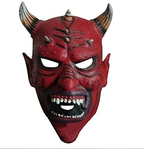 Botitu Horror Vaca Cuerno Máscara, Animal de Novedad Juguete, Modelado Halloween Party Props Tocado Cosplay Retro Skull Diablo,Rojo