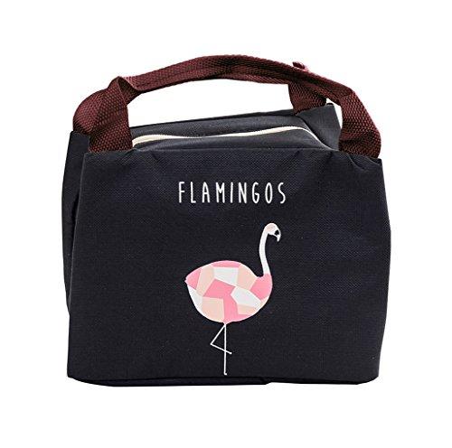 iSuperb Sac Repas Lunch Bag Sac Isotherme Enfant Sac à Déjeune Flamant Insulated Lunch Cooler Sac Fourre-tout Imperméable pour Hommes et Femmes 21*17*15cm (noir)