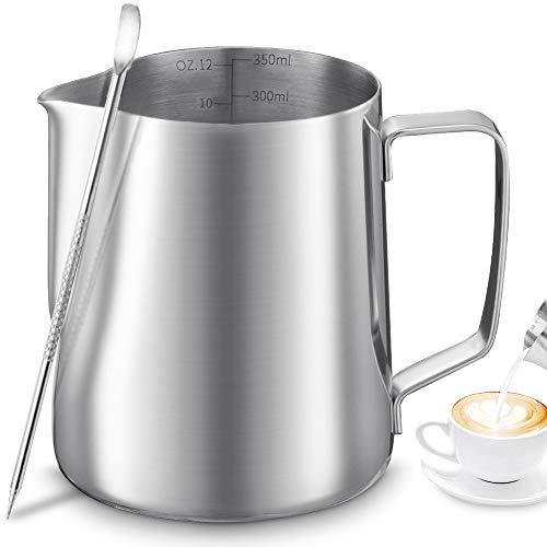Tonsooze Jarra de leche de acero inoxidable, 350ml jarra leche barista, aza de café de mano con marca de medición y lápiz artístico de leche Latte Art