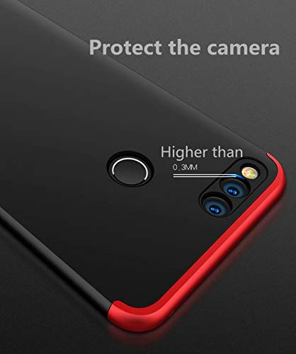 AILZH Huawei Honor 7X Hülle+Gehärteter Glas Folie 360 Grad HandyHülle PC Hartschale Anti-Schock Schutzhülle Anti-Kratz Stoßfänger Bumper 360° Cover Case matt Schutzkasten(Blau schwarz) - 5