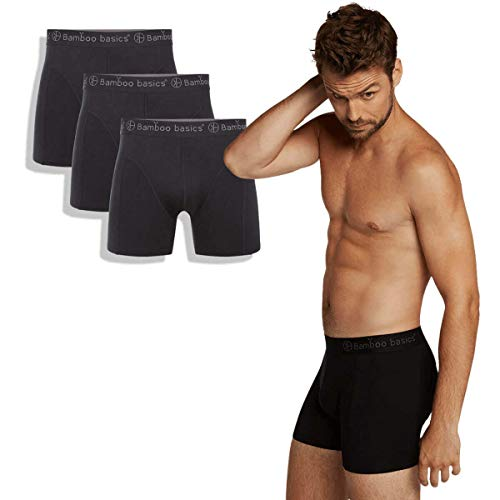 Bamboo Basics - Herren Bambus Boxershorts - Rico - 3er-Pack - Atmungsaktive Unterwäsche - Schwarz - M