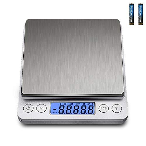 DDS-DUDES Balances de cuisine numériques (3 kg, 0,1 g) Mini balance alimentaire de haute précision en acier inoxydable Balances de pesage électroniques portables avec 2 plateaux