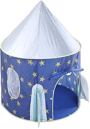 Schattig Play Tent for kinderen Ruimte Pop Up Play House Toy Tent Star Rocket Castle Playhouse Cute Opvouwbaar Princess Grote Indiase Tipi tent for Jongens Meisjes Met draagtas, blauw