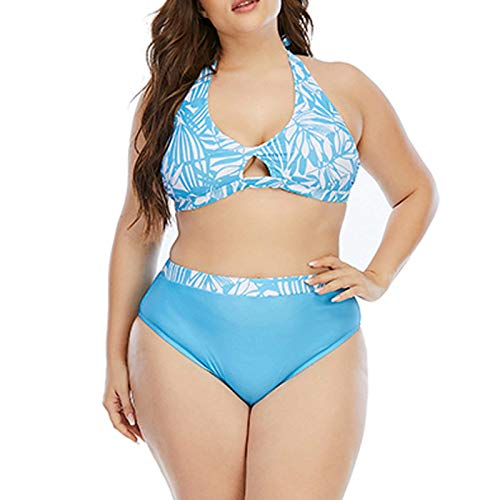 Two Piece Women Sling Floral Halter Swimsuits V Neck Tummy Control Push-Up Swimsuit Cover Ups for Women Sexy Strappy Bandage Bikini Bathing Suits Plus Size(XL,Blue)