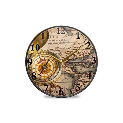 TropicalLife Vintage Retro Outdoor Kompass Weltkarte Runde Wanduhr dekorative Uhr Moderne Uhr batteriebetrieben geeignet für Esszimmer Küche Büro Klassenzimmer, Plastik, Multi, 11.9x11.9in