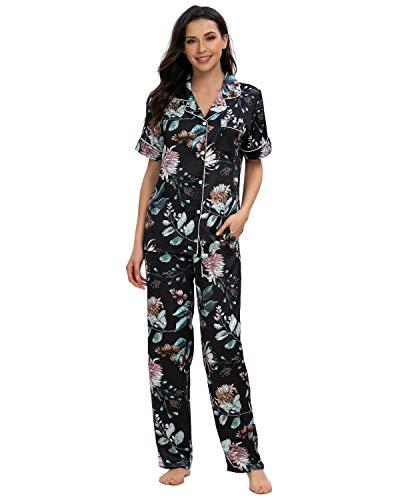 GOSO Pijama de satén para Mujer con Botones de Seda Floral Manga Cortos y Pantalones Ropa de Dormir Conjuntos Pijama para Mujer