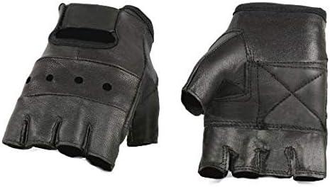 Men's Leather Fingerless Motorcycle Riding Gloves
