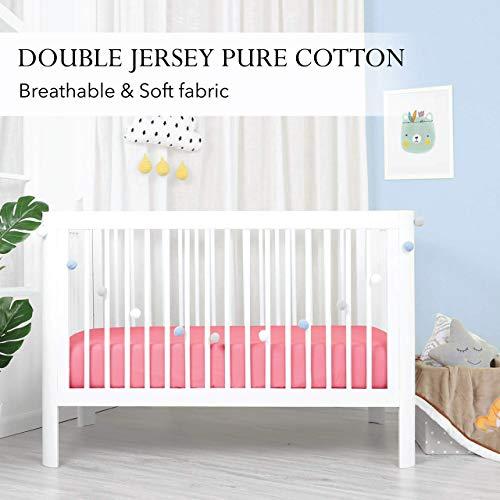 Double Jersey - Duo pack Fijne Kinder en baby Hoeslaken van 100% Zachte Jersey Katoen - strijkvrij en kreukvrij met tot 15 cm hoekhoogte -2 stuks 60x120x15 Ledikant Roze