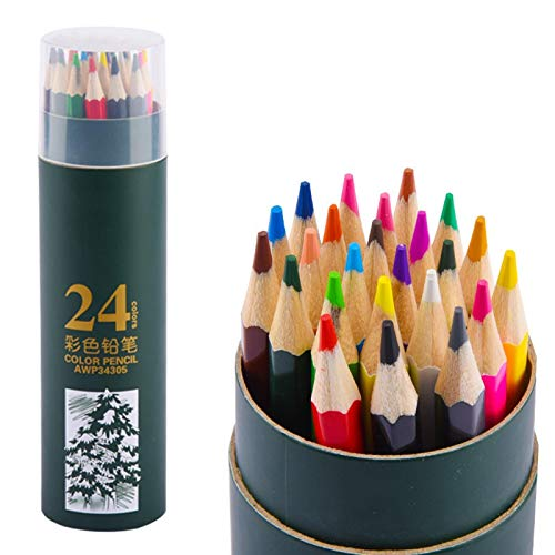 Lapices Colores Yuan Ou 12/24/36/48 colores acuarela profesional juego de lápices de colores de madera boceto artístico dibujo pintura material de papelería escolar verde-24 colores