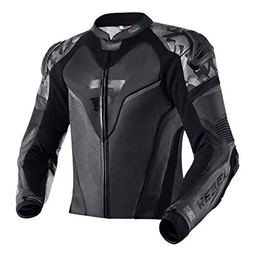 REBELHORN Rebel Motorradjacke Rindsleder Ellbogen Schultern und Rückenschutz Belüftungsschieber an Ellbogen und Schultern 4 Taschen Reflektierende Elemente