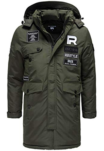 Redbridge Herren Winterjacke Parka Mantel RB Patches mit Kapuze Khaki M