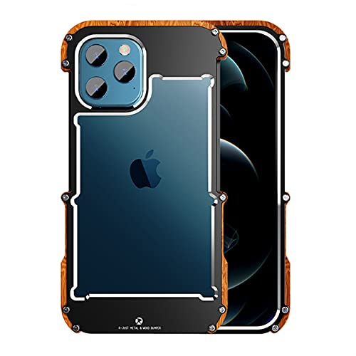 LRJBFC Para iPhone 12 Pro MAX 12 Mini 11 Pro S 2020 x 6 6s 7 8 Plus XR XS Funda de Aluminio Bumper Metal y Madera Teléfono a Prueba de Golpes (Color : Black Brown, Material : For iPhone 6 6s)