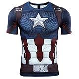 スーパーヒーロー 3D スリムフィット 速乾性 ストレッチ スポーツ コスプレ Tシャツ (M, Captain America 半袖 1)