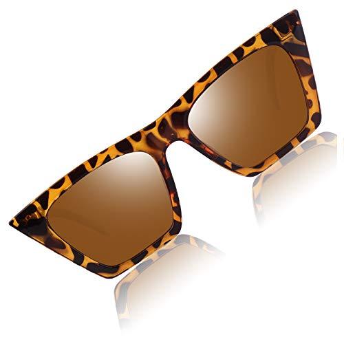 CGID Gafas de Sol Mujer Polarizadas, Gafas de Sol de Ojo de Gato Cuadradas Mejoradas M906
