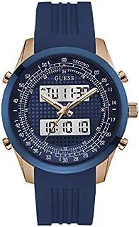 ساعة عصرية للرجال من جيس، بهيكل من الستانلس ستيل، مينا بلون ازرق، تصميم انالوج-رقمي - W0862G1