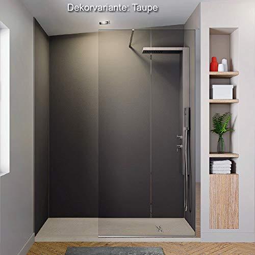 Wandverkleidung Duschrückwand, Dusche Fliesenersatz HPL, div. Größen und Dekore Wandpaneel Farbe Taupe, Höhe bis 244 cm