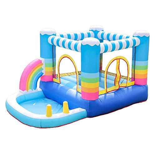 NMDD Langlebige kleine aufblasbare Trampoline Hüpfburg Kinder Aufblasbare Trampoline Sicher Glatt Mit Gebläse Spielzeugpool Für Kinderspielplatz im Innen- oder Außenbereich (Farbe: Blau, Größe: 2