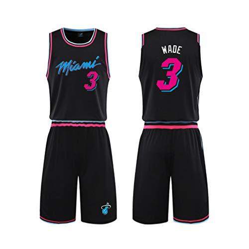 Maillot Miami Heat # 3Maillot de basket de sports d'été Uniformes de basket pour adultes et enfants Uniforme de basket-ball avec short,Noir,S#155to165CM