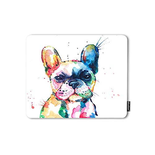 Moslion Mouse Pad Watercolor French Bulldog Hand Drawn Paint Puppy Funny Animal Cute Lovely Pet Gaming Mouse Mat Non-Slip Rubber Base Thick Mousepad for Laptop Computer PC 9.5x7.9 Inch