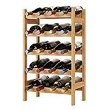 Portabottiglie Vino in Bambù, Scaffale Portabottiglie per 20 Bottiglie, Portavini a 5 Strati, Cantinetta Porta Bottiglie, Naturale, 43.5x24.6x73cm