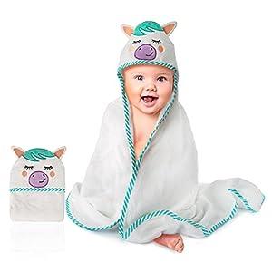 Ecomky Toalla Bebé con Capucha Capa Baño Infantil Poncho 100% Algodón Diseñado en España Regalo Recién Nacido Niñas Niños de 1,2,3,4 y 5 años Unisex Grande 90X90 cm Suave Absorbente 0-5 Años