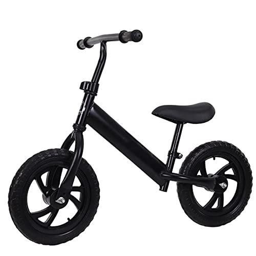 YQCH 12 '' Bicicleta de Equilibrio para niños, niñas de Metal para Chicas Corriendo Caminando en Bicicleta, Bicicleta para niños pequeños a Nivel de Competencia Balance Infantil (Color : Black)