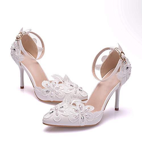 Zapatos Flor De Encaje De Diamantes De Imitación Cerrados De Tacón Tacones Altos Para Mujer Con Punta Cerrada Zapatos De Noviacuerot Flores De Cordón Marfil,Blanco,37EU