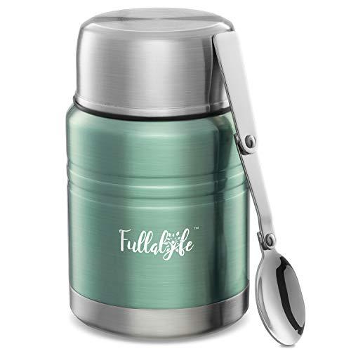 Fullalyfe Thermobehälter für Essen (500 ml) aus Edelstahl – Auslaufsicherer Warmhaltebehälter – Vacuum Warmhaltebox – Thermobecher Babybrei – Thermo Lunchbox – Thermos Essensbehälter (Cyangrün)
