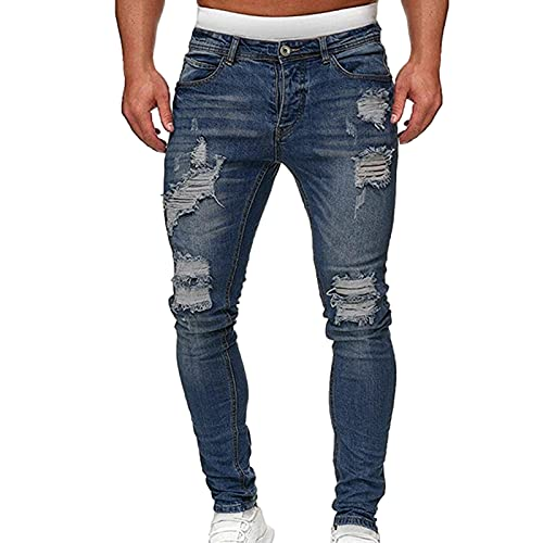 likeitwell Jeans Skinny Pantalones de Mezclilla del patrón Rasgado Pantalones Biker Jeans Pantalones de lápiz Denim Jeans Denim Agujero Patch Exceptional