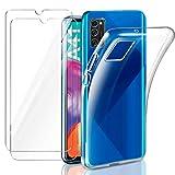 AROYI Samsung Galaxy A41 Hülle + [2 Stück] Panzerglas Schutzfolie, Durchsichtig Hülle Transparent Silikon TPU Schutzhülle 9H Festigkeit HD Panzerglasfolie Glas für Samsung Galaxy A41 (Transparent)