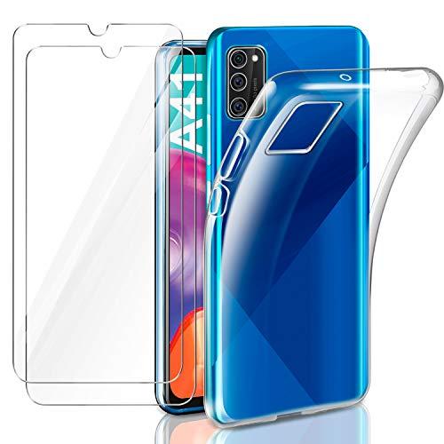 AROYI Hülle Kompatibel mit Samsung Galaxy A41 mit 2 Stück Panzerglas Schutzfolie, Durchsichtig Hülle Transparent Silikon TPU Schutzhülle 9H Festigkeit HD Panzerglasfolie Glas (Transparent)
