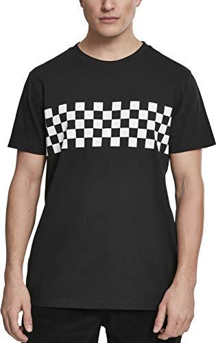 Urban Classics Herren CheckPanel Tee T-Shirt, Schwarz (Black/White 00826), Medium (Herstellergröße: M)