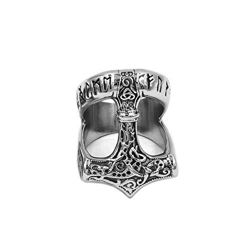 BAVAHA Tribal Symbol Myth Thor Hammer Ring Stainless Steel Jewelry Celtic Knot Ring Norse Viking Motor Biker Men Ring(14,Style 4)