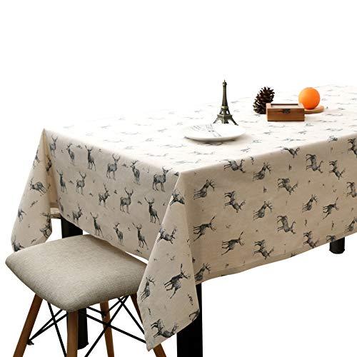 Baumwolltuch Tischdecken Schöne graue Hirsche, Anti-Falten No-Fade Weiche weiße Tischdecke für zu Hause Esszimmer, No-Fade dauerhafte Tischdecke