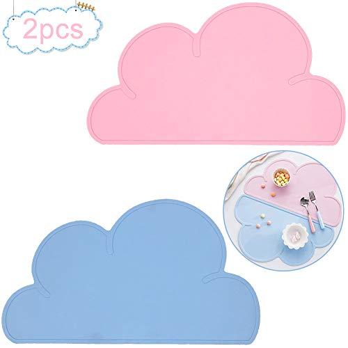 Kinder Platzset Wolke, BETOY 2 Stück Kinder Tischset Platzdeckchen Wolke Form Abwaschbar Rutschfeste Silikon Tragbar Essen Dekoration für Babys Kleinkinder Pink, blau