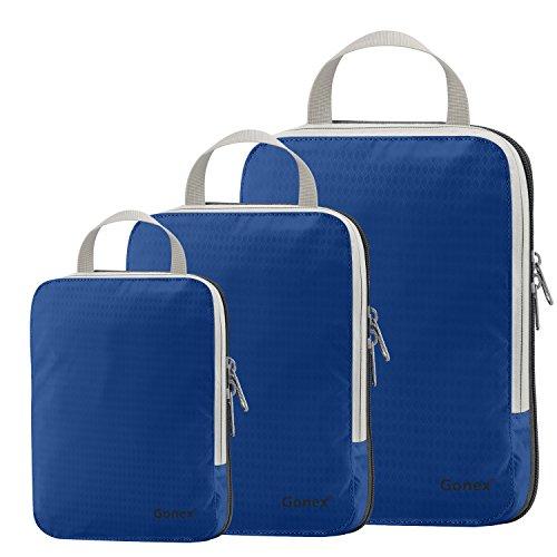 Compression Packing Cubes 3/4er Set, Gonex Kleidertaschen 4-teilig Verpackungswürfel, Kleidertaschen Set, Kofferorganizer Reise Würfel, Marine Blau(3er), SML