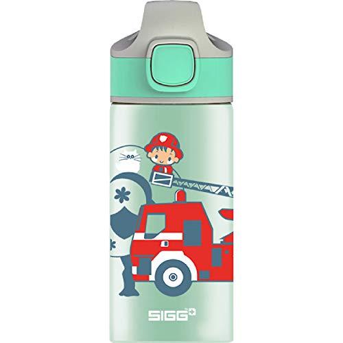SIGG Fireman Borraccia alluminio per bambini (0.4 L), Borraccia bambini con tappo ermetico, Borraccia acqua in alluminio con motivo e cannuccia integrata
