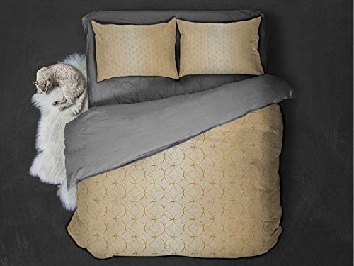 Toopeek Beige Extra large quilt cover Golden Linked Circle and Diamond Shape Motifs Geometric Abstract Contemporary Pattern Print Can be used as a quilt cover-lightweight (Twin) Gold