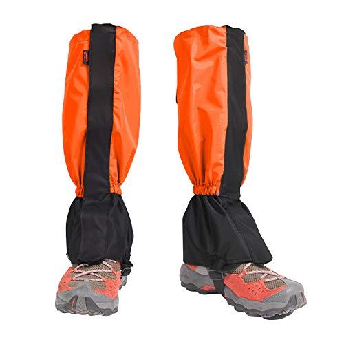 Houdao 1Paar Gamaschen Herren Wasserdicht Gamaschen Outdoor PVC Atmungsaktive Einstellbare Gamaschen Damen Schnee für Wandern, Klettern, Trekking, Schneewandern und Jagd(Orange)